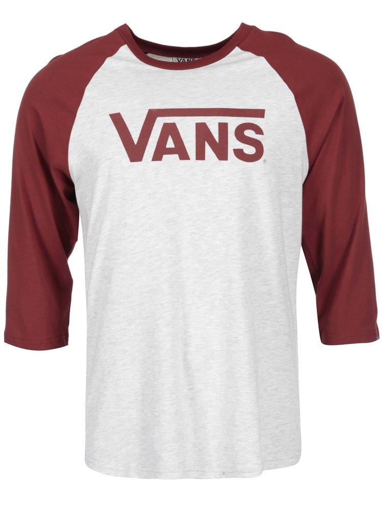 Červeno-šedé pánské triko s potiskem Vans Raglan