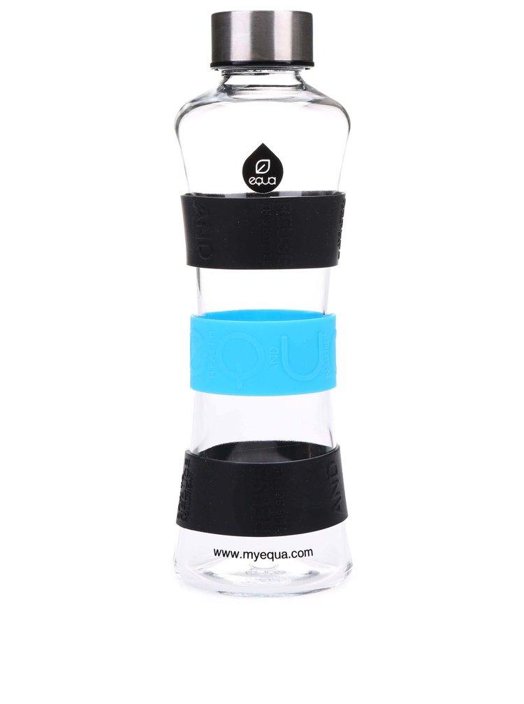 Sklenená fľaša s čiernymi a modrými detailmi EQUA CMYK SQUEEZE (550 ml)