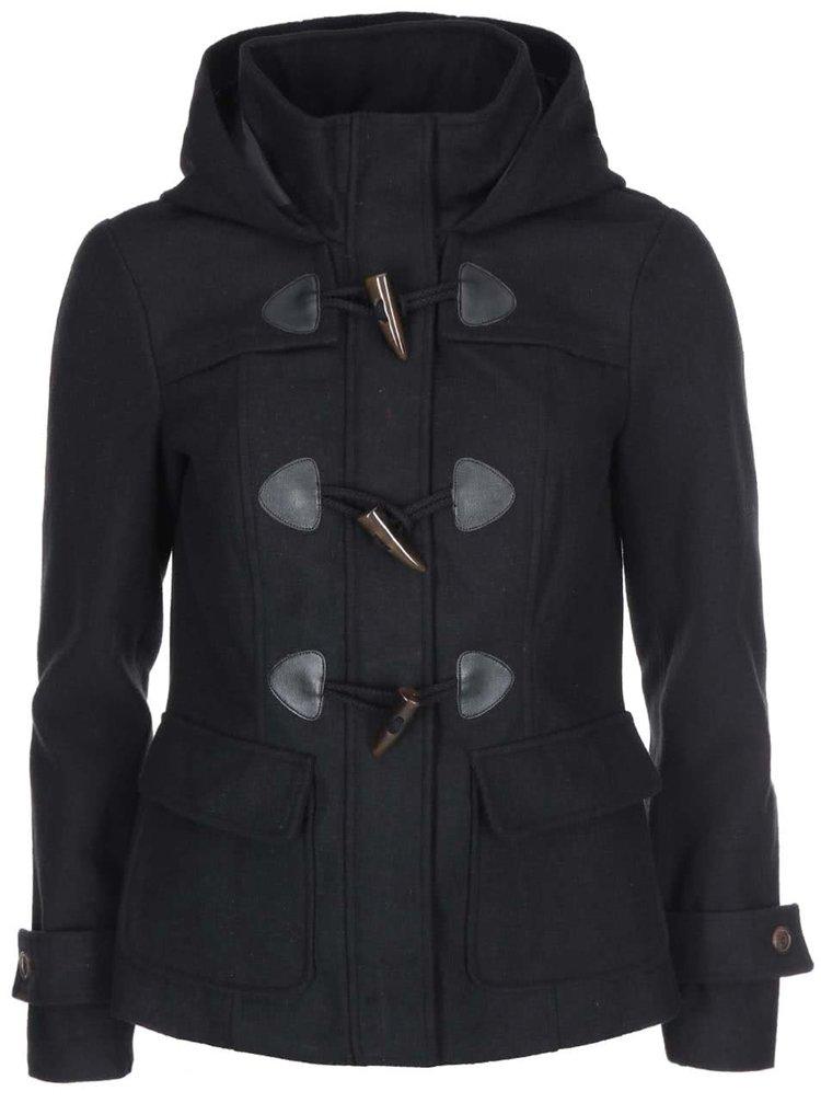 Černý kratší kabát s kapucí VERO MODA Mella