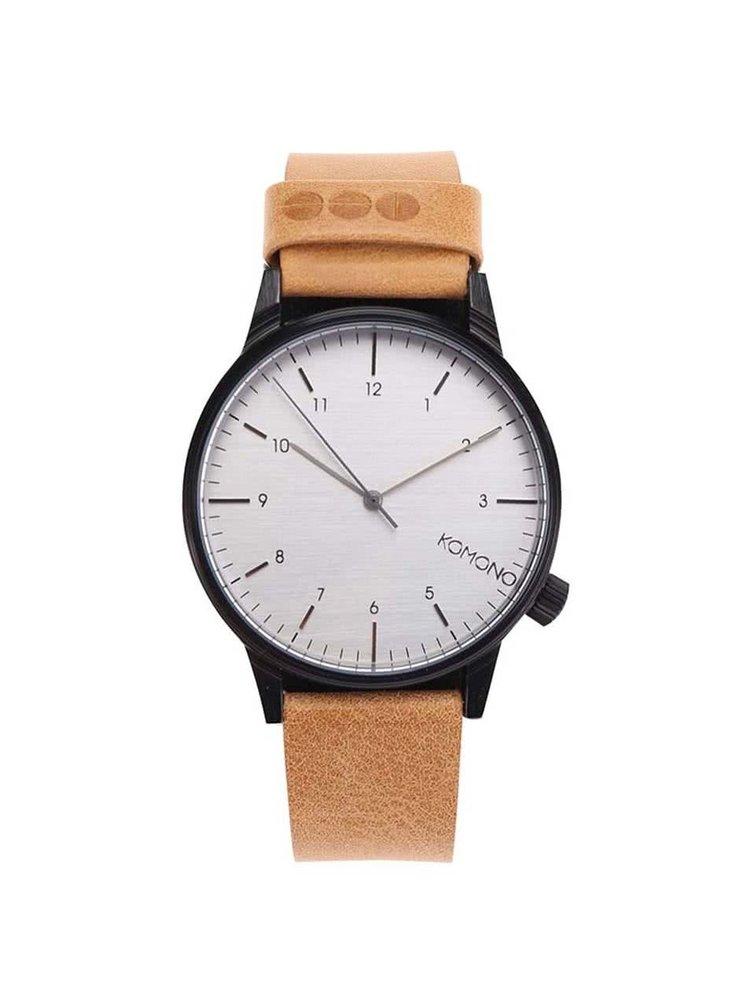 Černé unisex hodinky se světle hnědým koženým páskem Komono Winston Regal