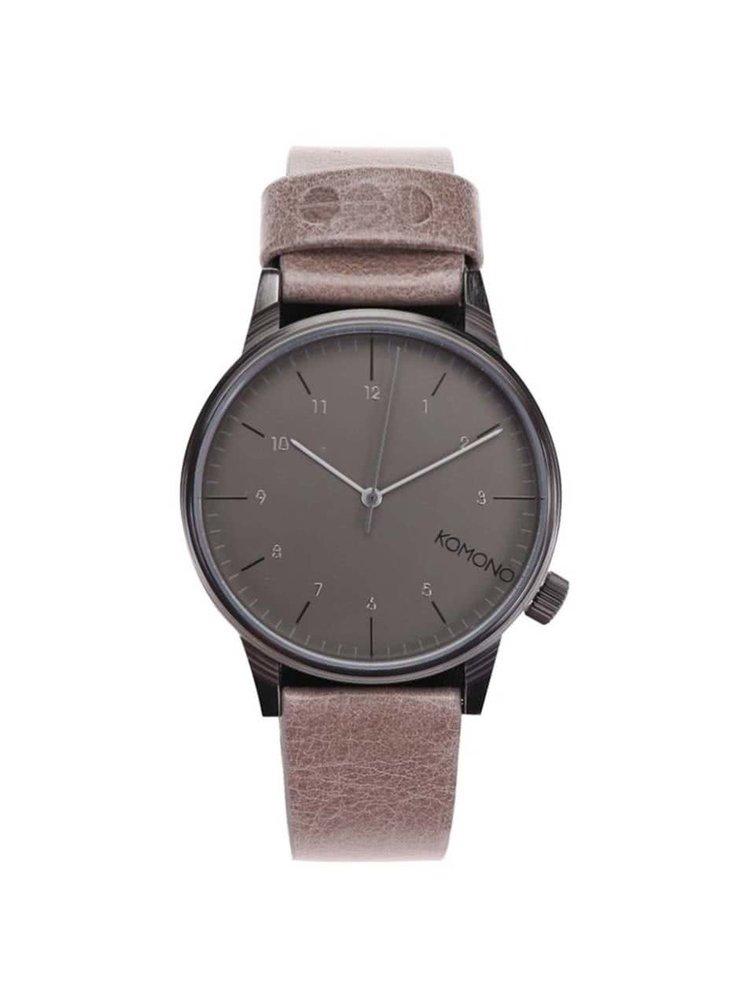 Šedé unisex hodinky s béžovým koženým páskem Komono Winston Regal
