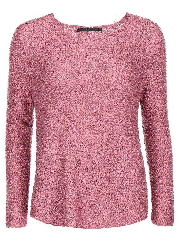Růžový volnější svetr ONLY Geranium