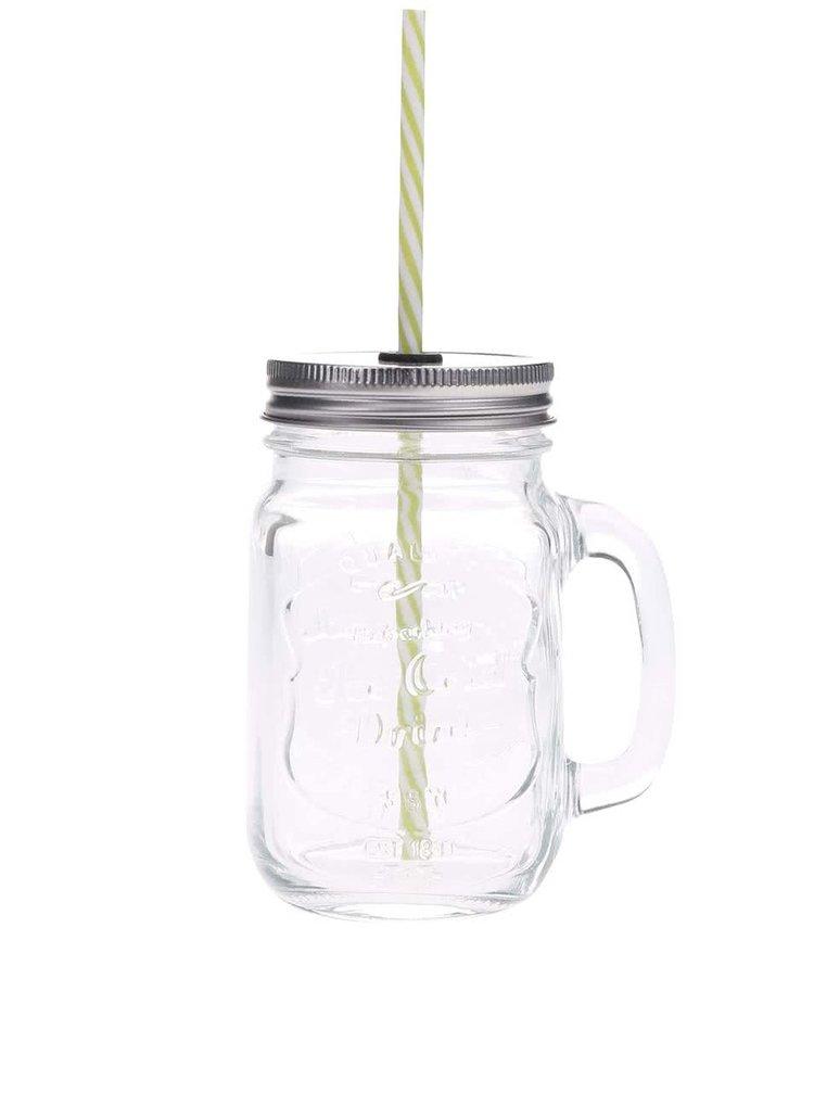 Číry uzatvárateľný pohár so zelenou slamkou Kitchen Craft