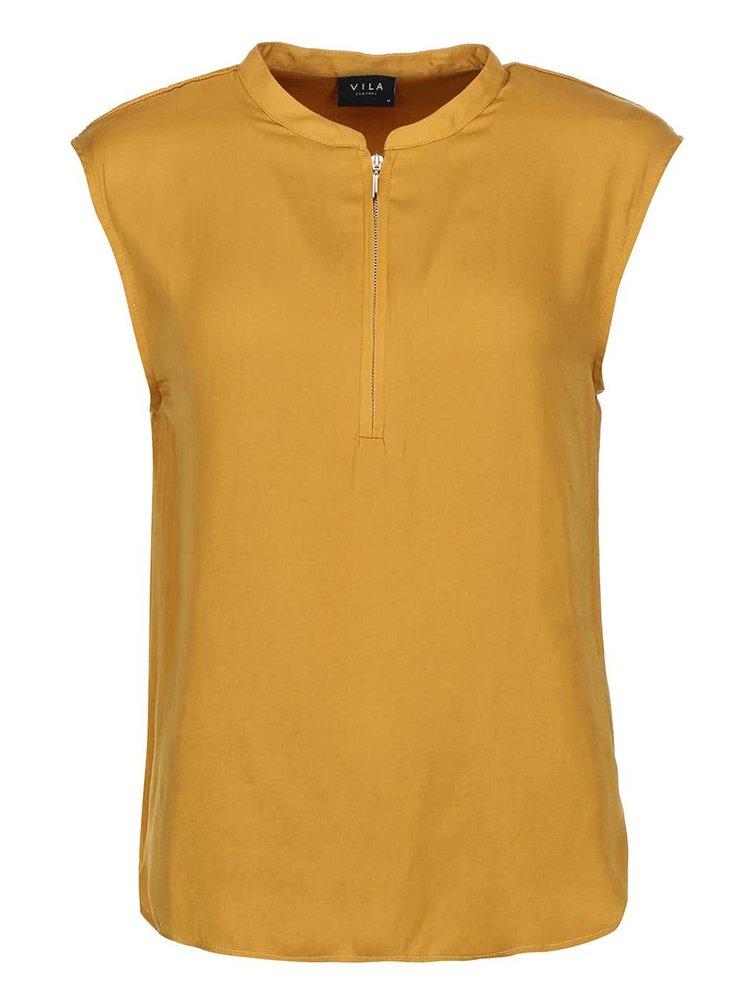 Bluză Sofital, de la VILA, mătăsoasă, cu fermoar - culoarea muștarului