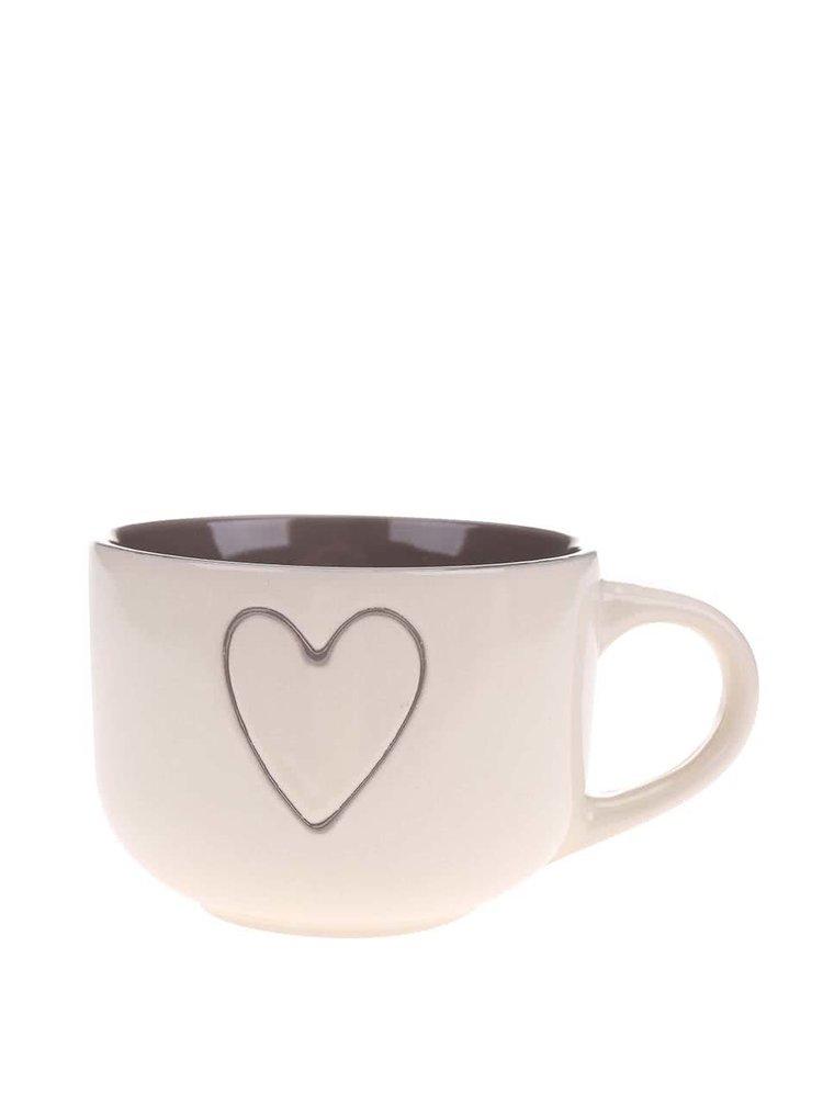 Cană din ceramică cu inimă de la Dakls - maron și crem