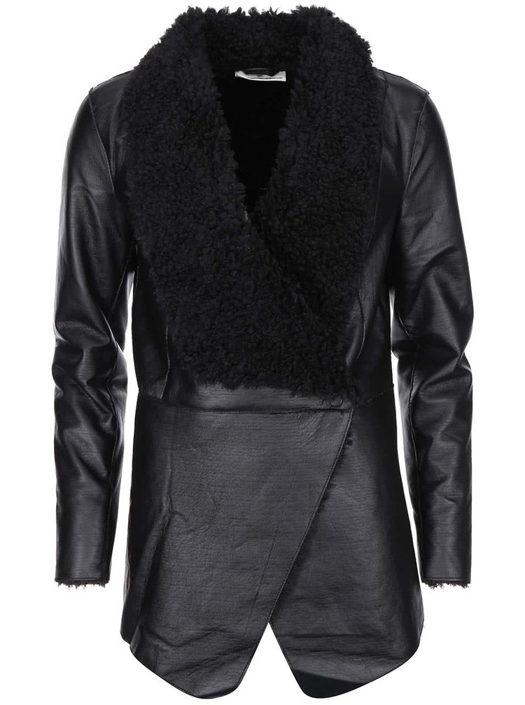 Černá dlouhá koženková bunda Noisy May Sheep