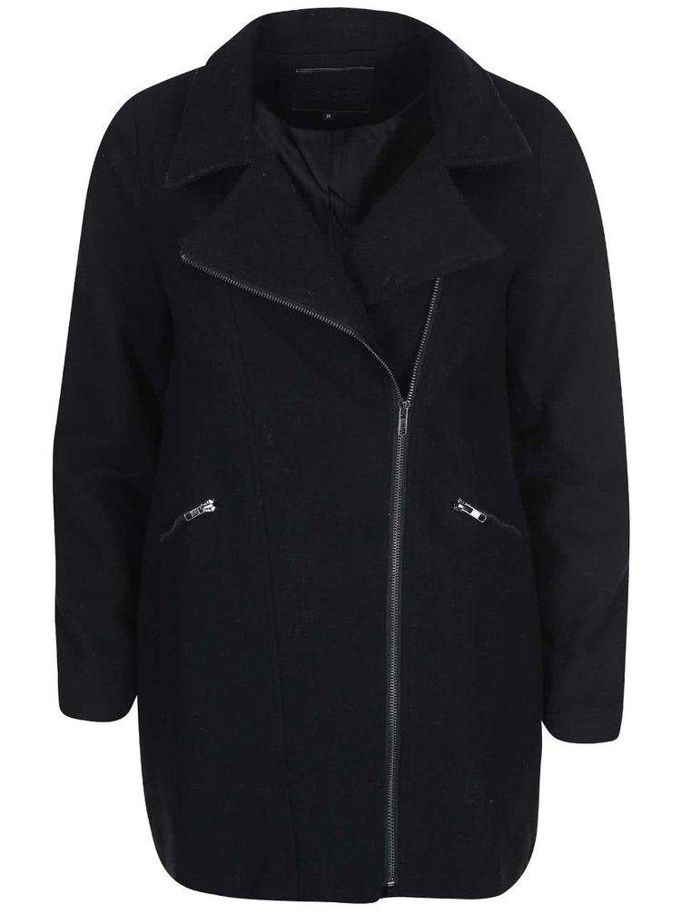 Čierny vlnený kabát na zips Lavand