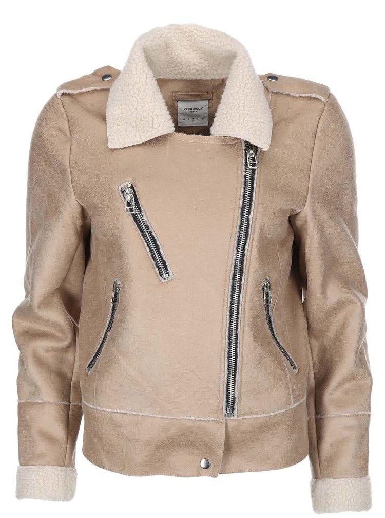 Béžová bunda s umělým kožíškem VERO MODA Bina
