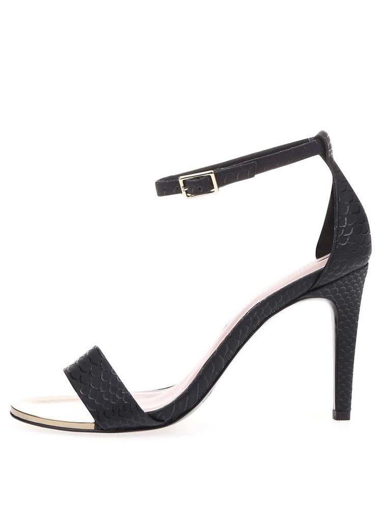 Černé páskové sandálky na podpatku s kovovým detailem ALDO Ridia