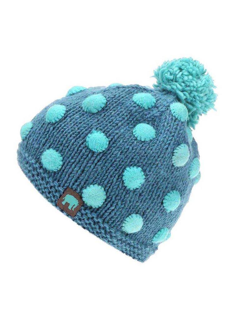 Modrá vlnená čiapka s bodkami a brmbolcom Tranquillo Satu