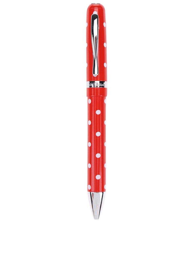 Červené guľôčkové pero s bodkami Cath Kidston