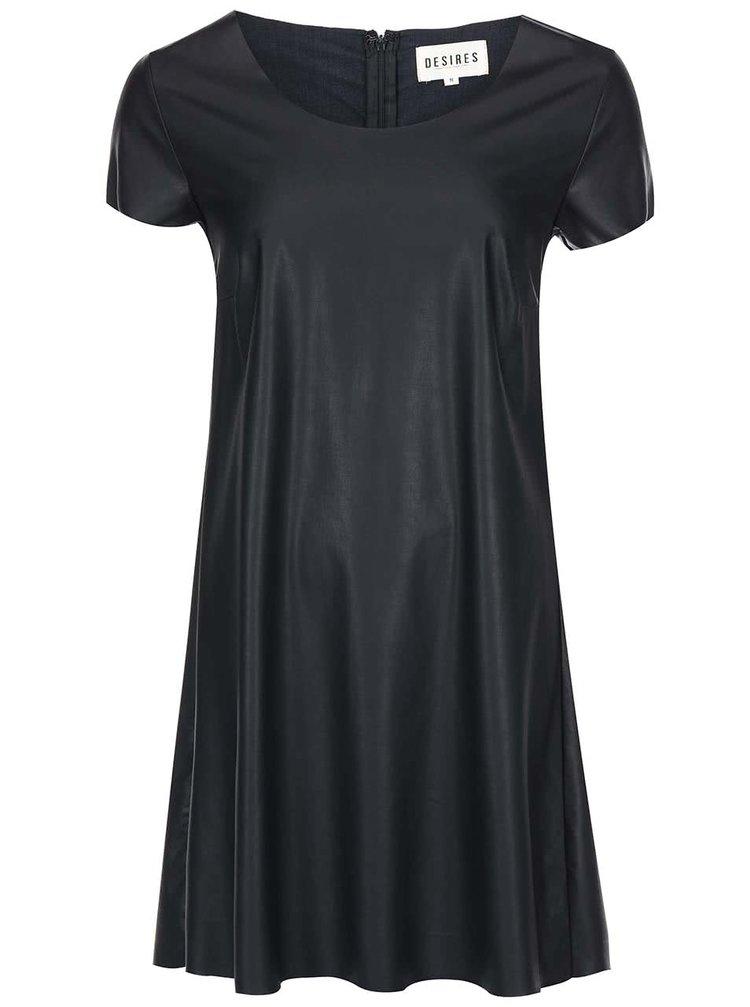 Černé koženkové šaty Desires Rocker