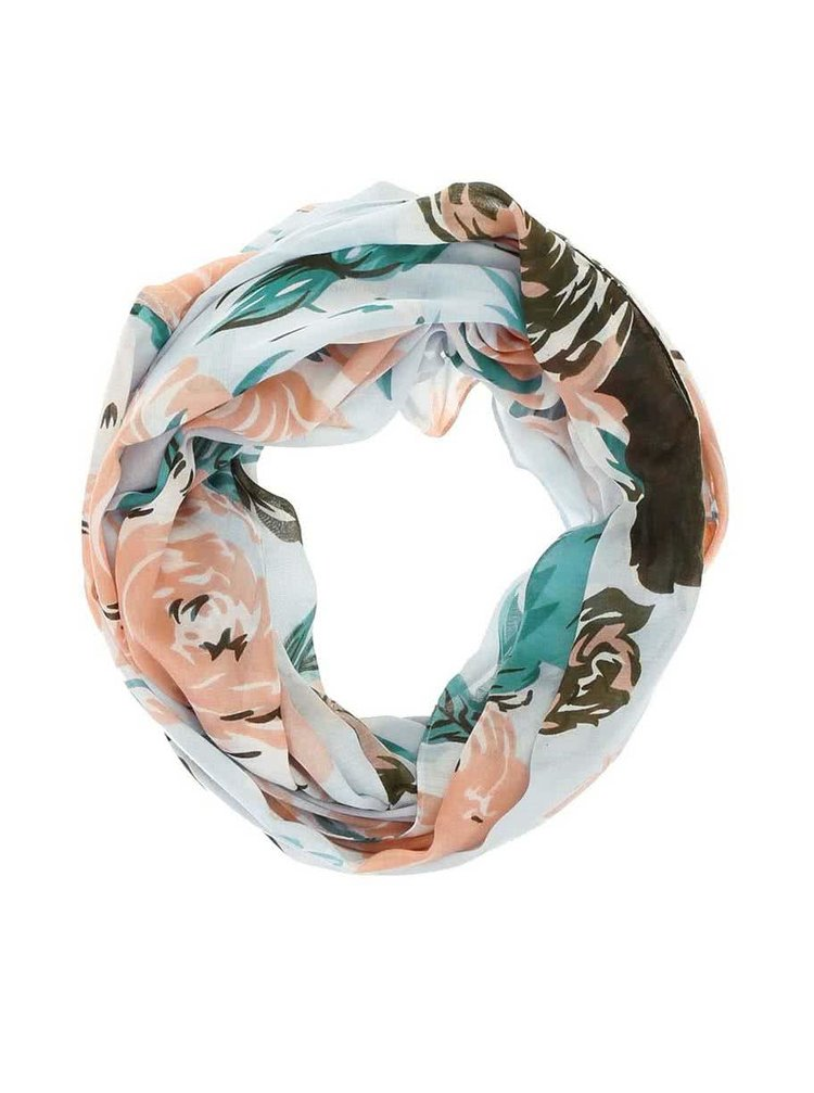 Modrý květovaný dutý šátek Pieces Ni