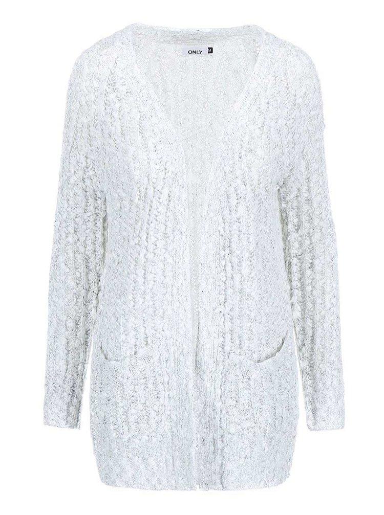 Bílo-šedý dlouhý žíhaný cardigan ONLY Sissy LGM