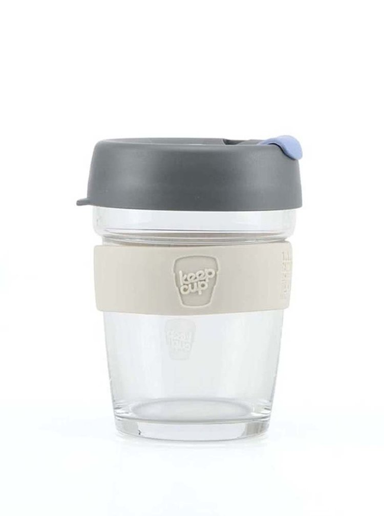 Cană de voiaj din sticlă KeepCup Brew Silver Medium