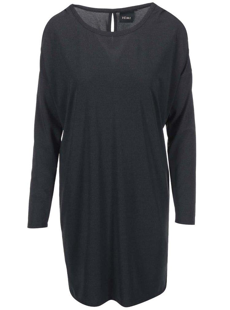 Tmavě šedé volnější šaty ICHI Lulla