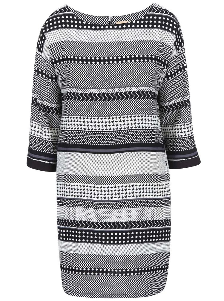 Černo-bílé vzorované volnější šaty ICHI Berio
