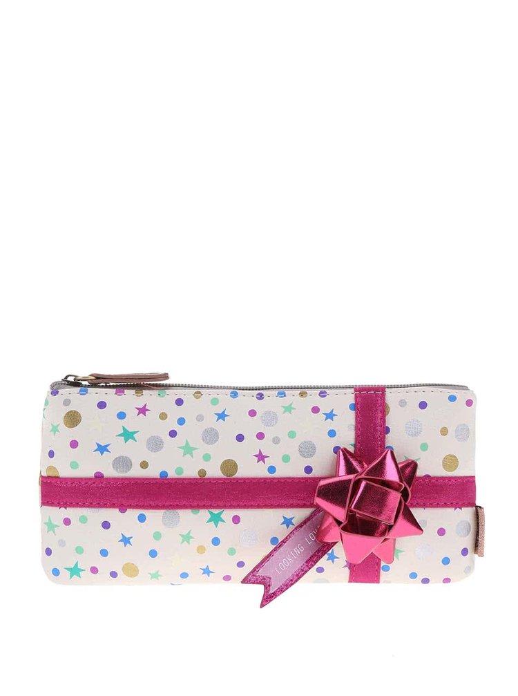 Krémová kosmetická taštička s růžovou mašlí Disaster Pompom Tutti