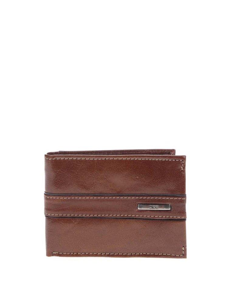 Hnědá kožená peněženka s prošíváním Dice Haden