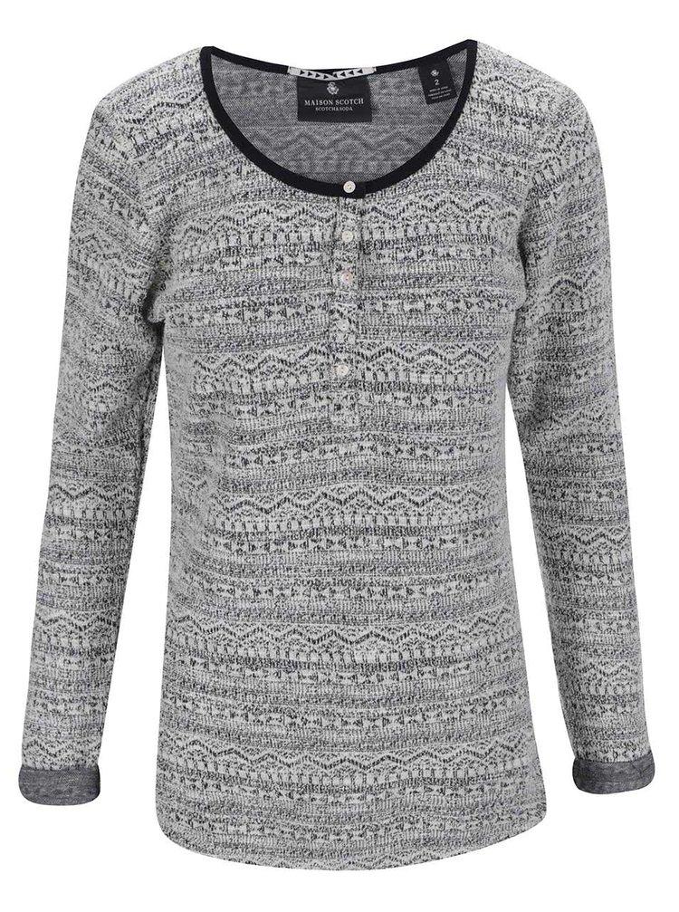 Bluză de damă cu mâneci lungi și model Maison Scotch - gri