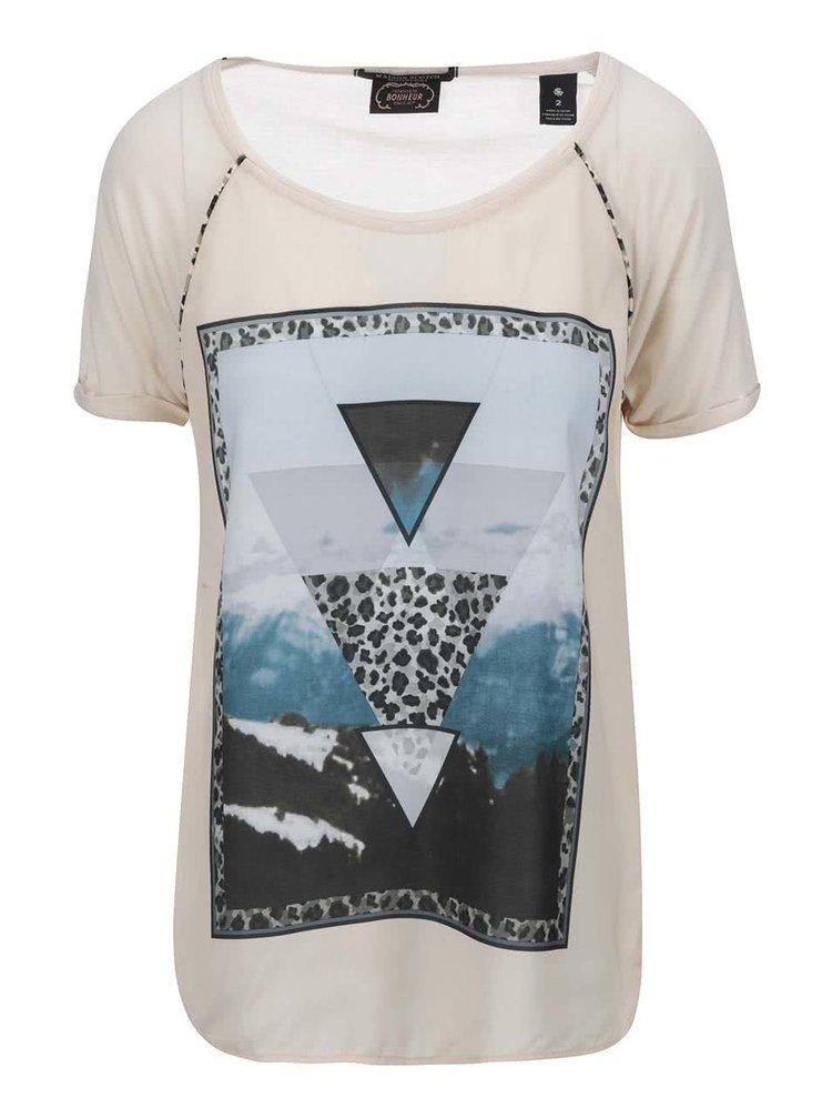 Tricou de damă cu imprimeu Maison Scotch - crem