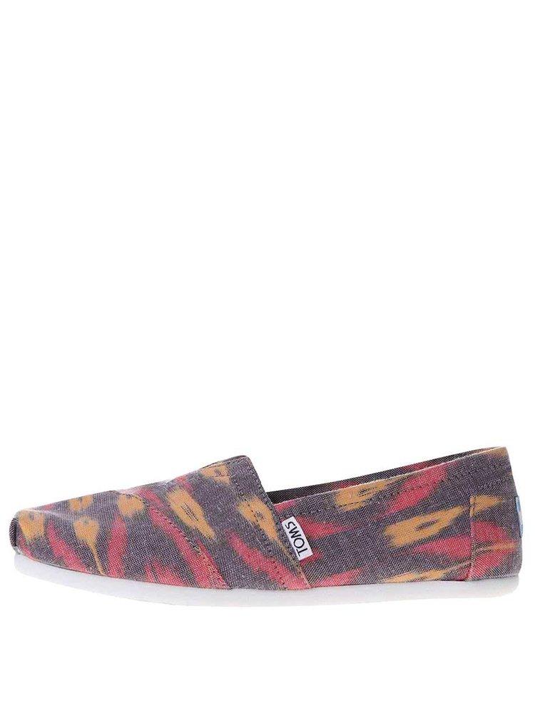 Fialové dámske loafers s farebným vzorom TOMS Alpr