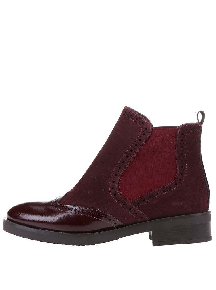 Vínové kožené kotníkové boty OJJU