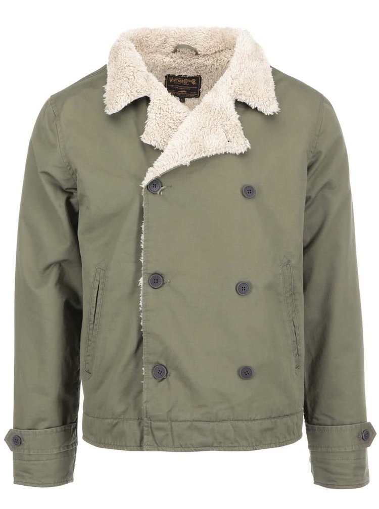 Khaki bunda s kožíškem Jack & Jones Frame