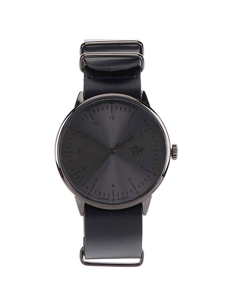 Černé unisex hodinky s koženým páskem CHPO Harold Metal