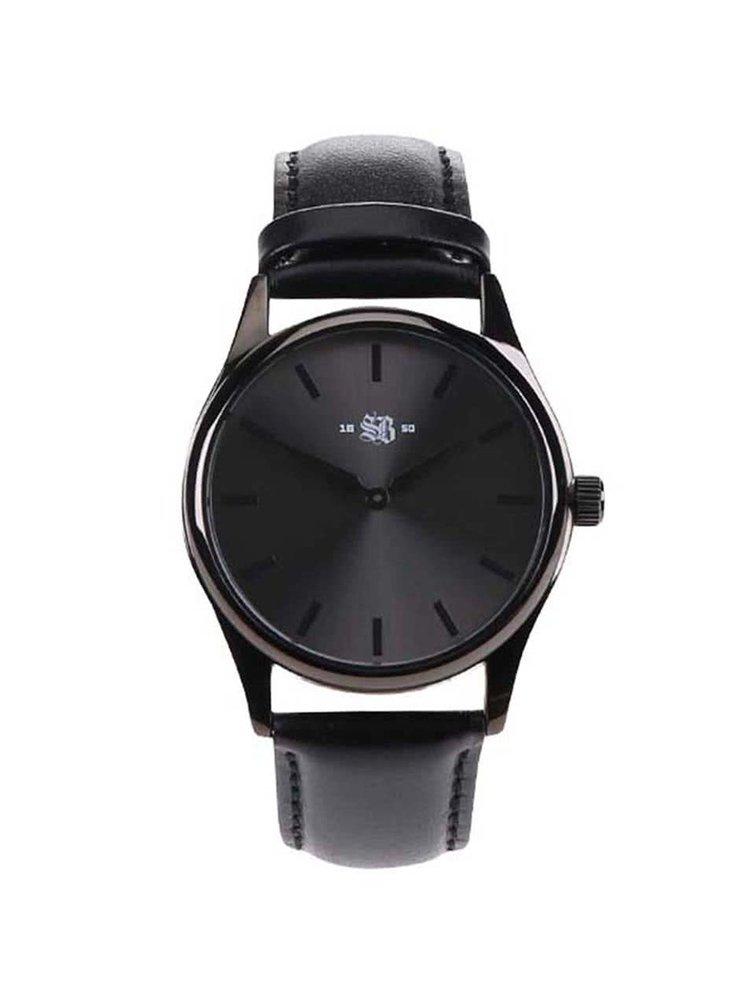 Čierne pánske hodinky s koženým remienkom Cheapo SB 1650