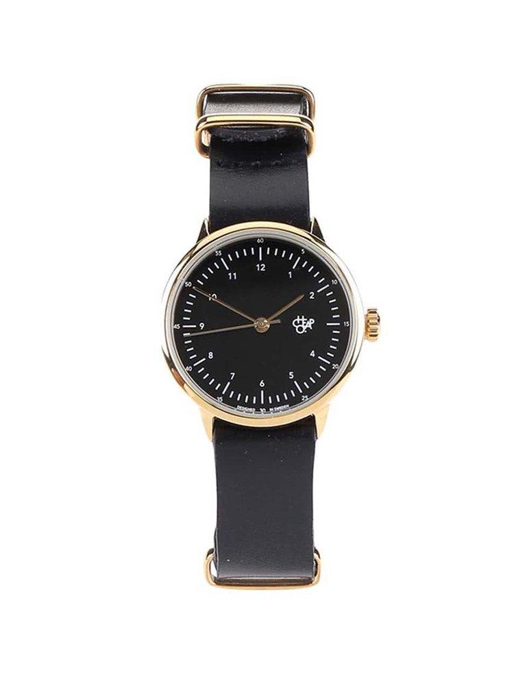 Dámské hodinky ve zlaté barvě s černým koženým páskem CHPO Harold Mini Gold