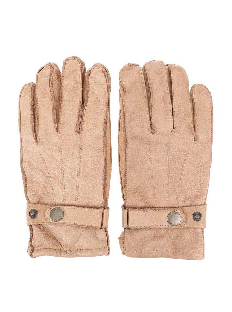 Béžové kožené rukavice Lindbergh