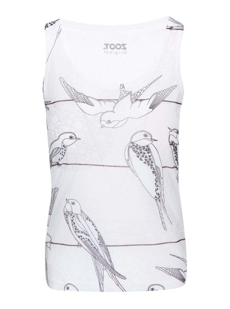 Top alb cu imprimeu cu păsări ZOOT Original
