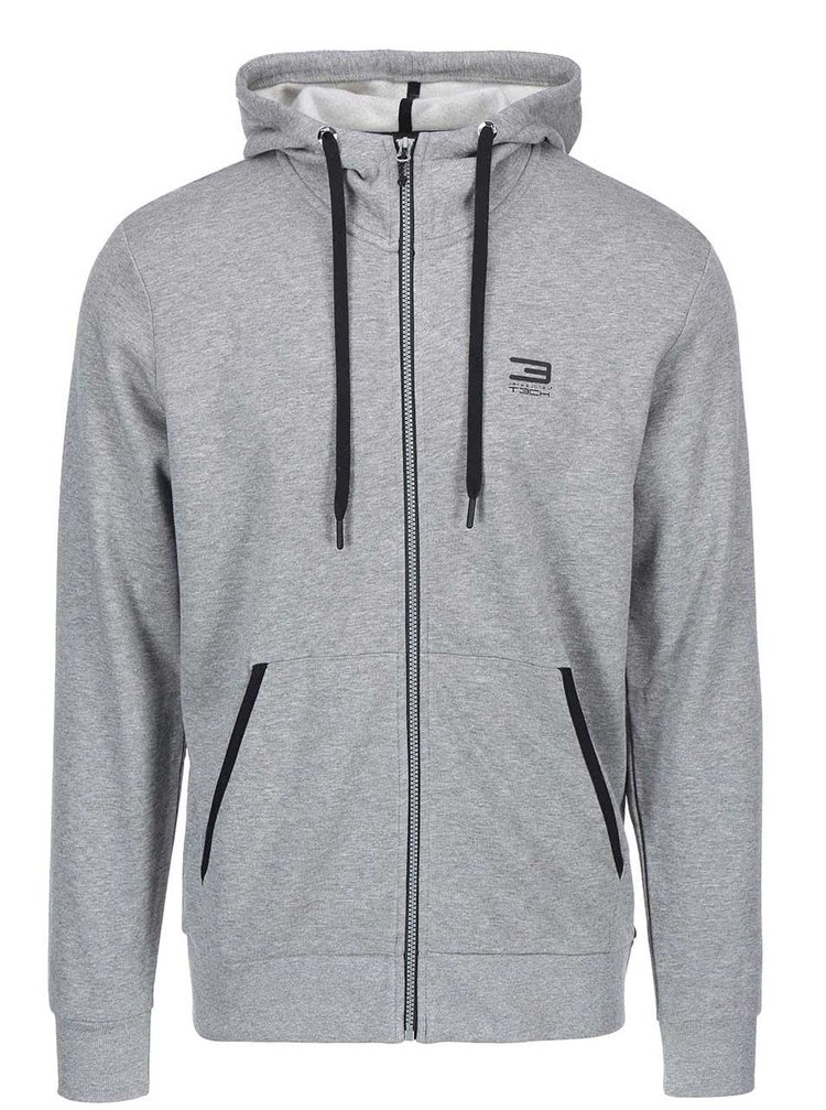 Šedá mikina na zip Jack & Jones Tech Slider