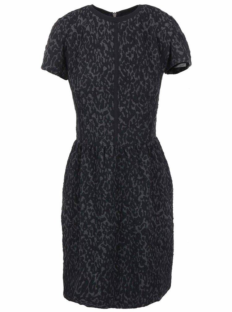 Šedo-černé vzorované šaty ICHI Reina