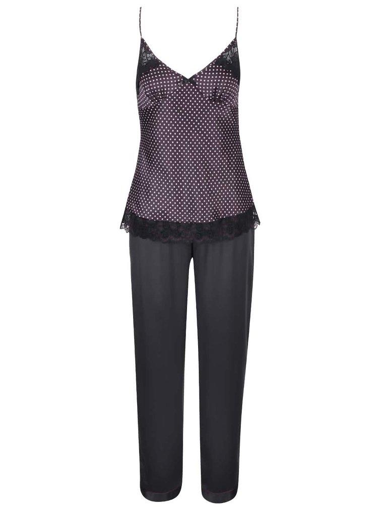 Čierno-fialové bodkované pyžamo Lipsy
