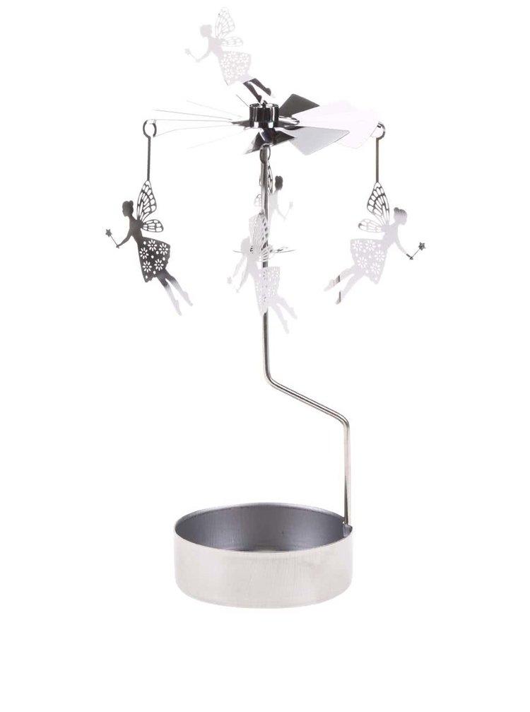 Otáčivý svícen s vílami ve stříbrné barvě Sass & Belle