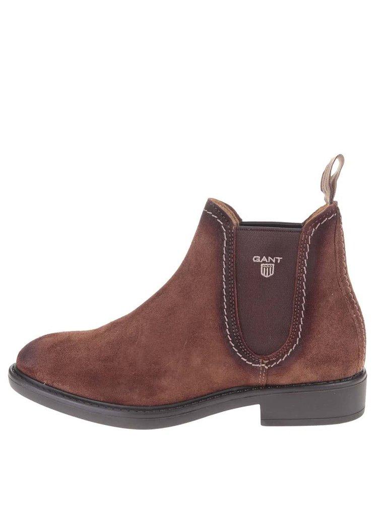 ... Hnedé dámske kožené členkové topánky GANT Lydia d883d3d3091