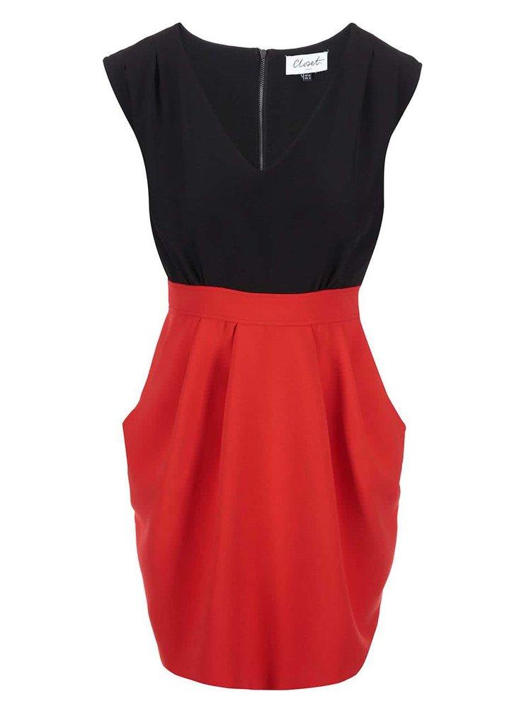 Čierno-červené šaty so zaväzovaním Closet