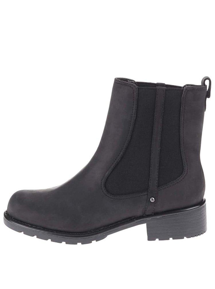 Černé kožené kotníkové chelsea boty Clarks Orinoco Hot