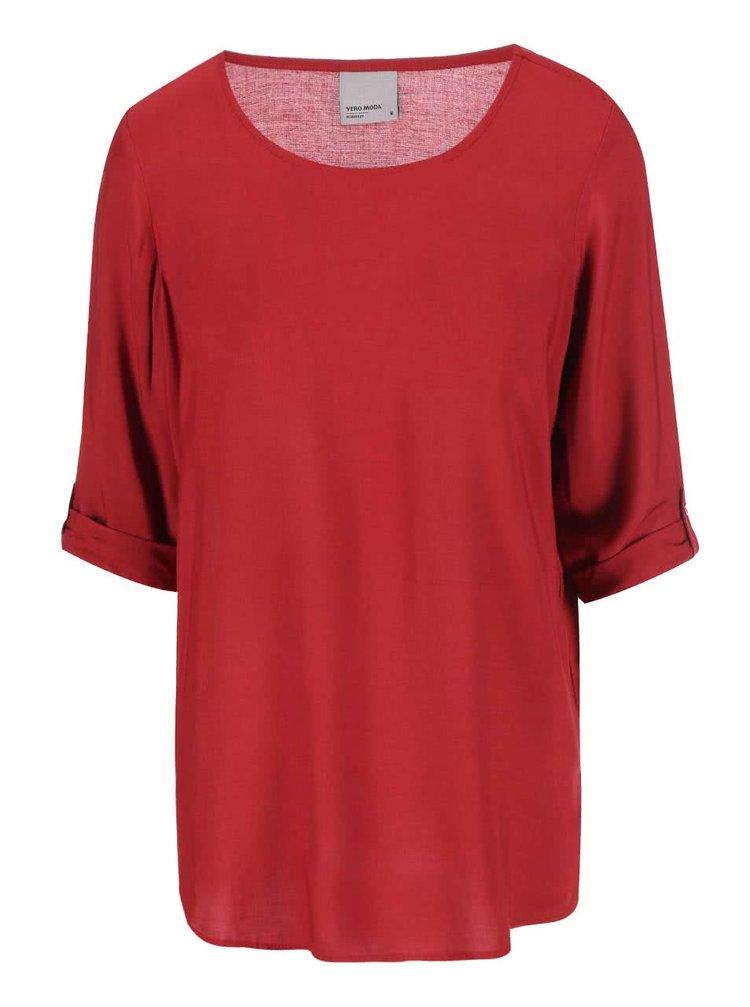 Bluză roșie cu mânecă 3/4 VERO MODA Boca
