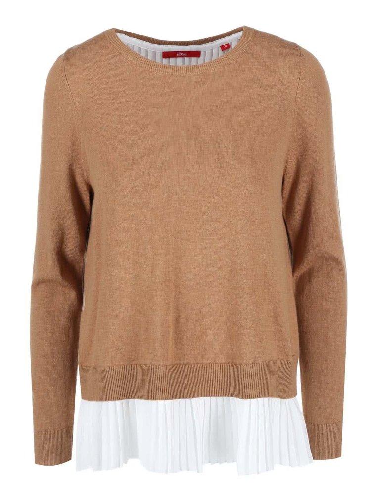 Hnedý dámsky sveter so všitou plisovanou košieľkou s.Oliver