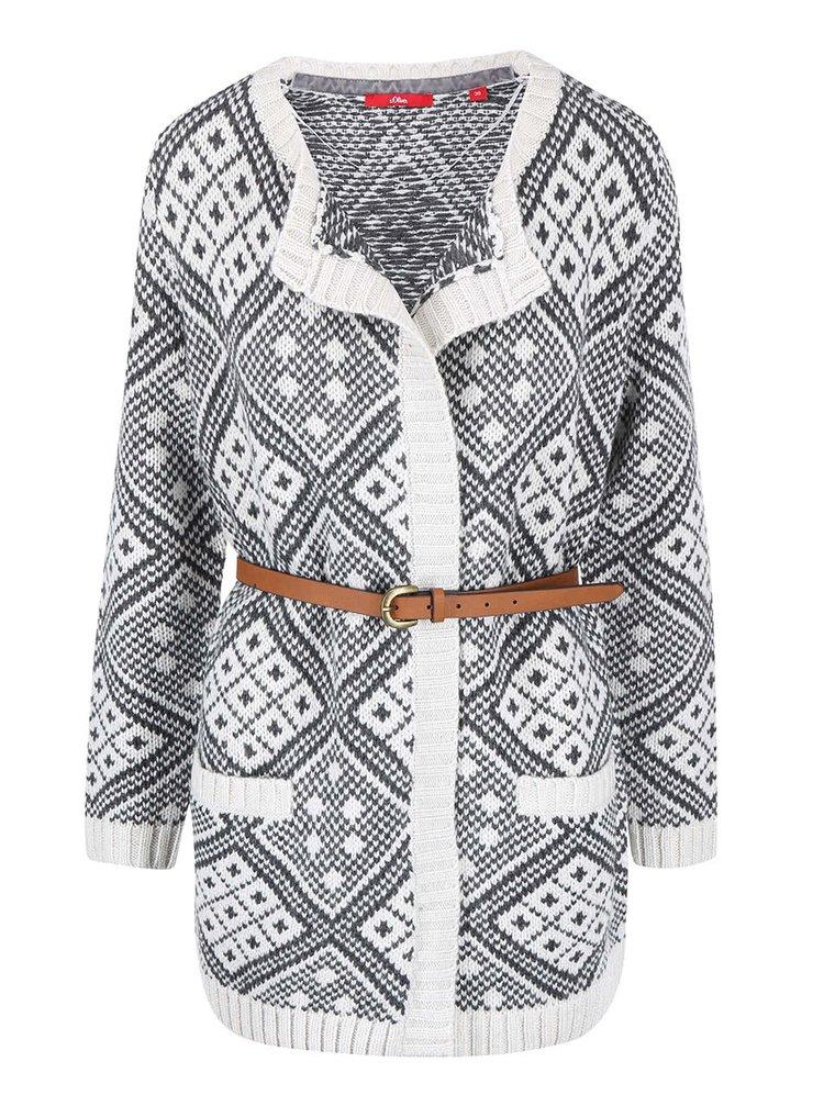 Krémovo-hnedý dámsky cardigan so vzorom s.Oliver