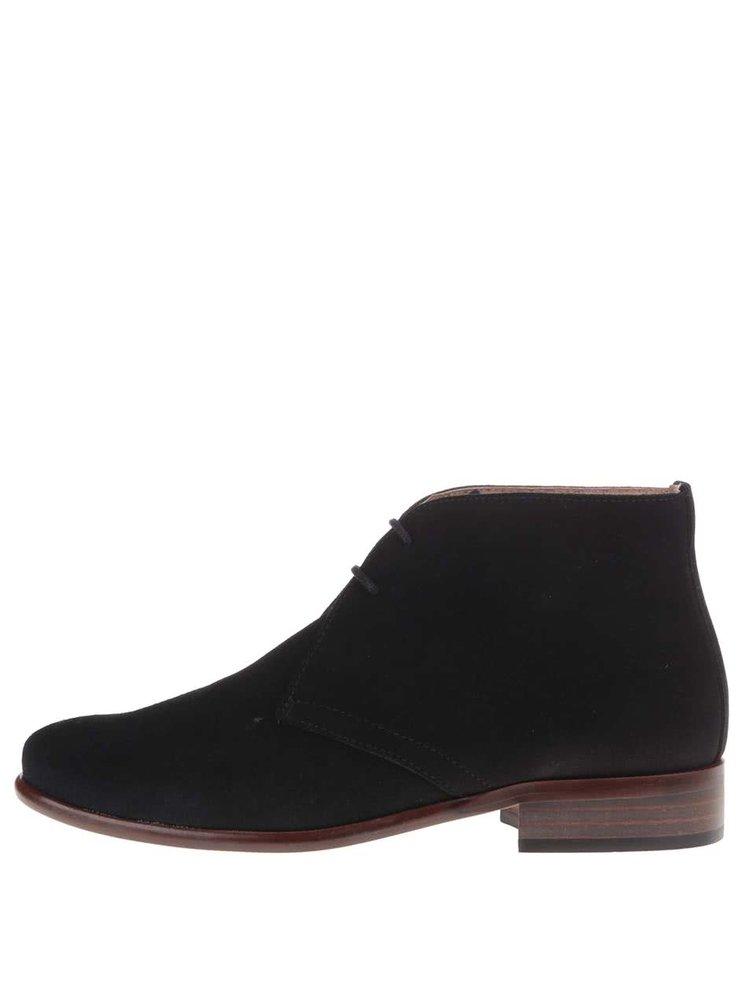 Čierne kožené členkové topánky so semišovou úpravou OJJU