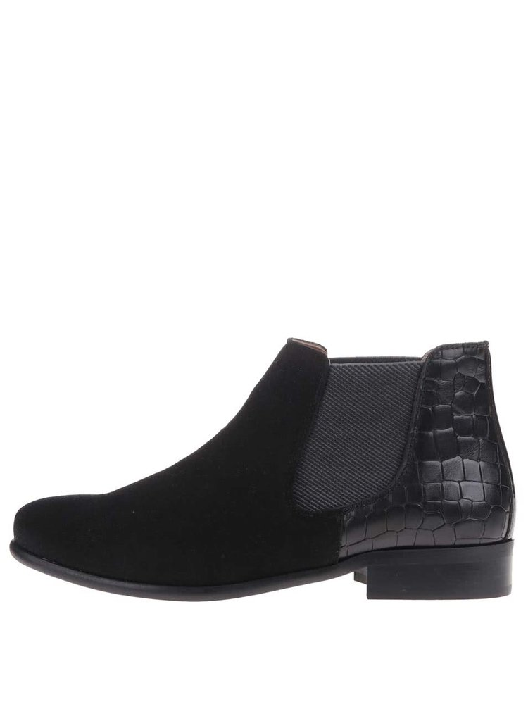 Čierne kožené chelsea topánky so semišovou úpravou OJJU