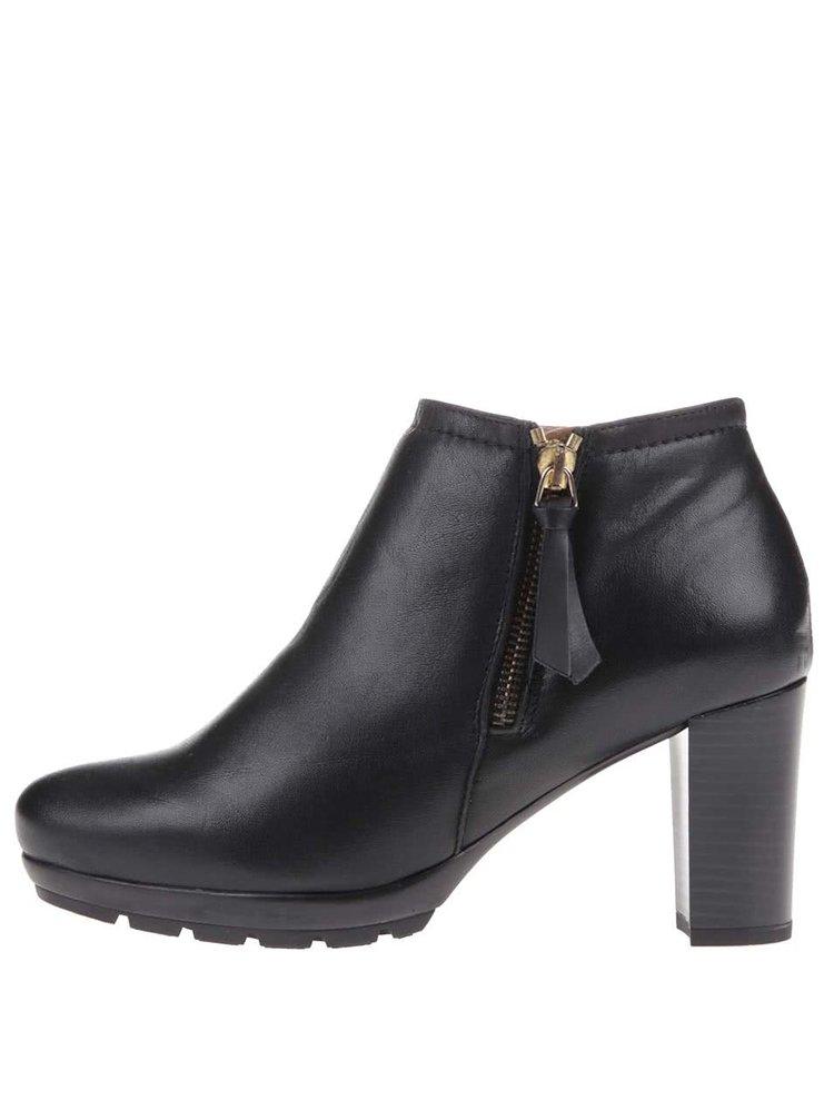 Pantofi negri Oxford din piele cu toc, OJJU