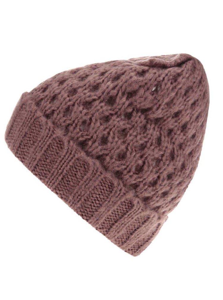 Ružová pletená čapica s mašľou Pieces Victorine