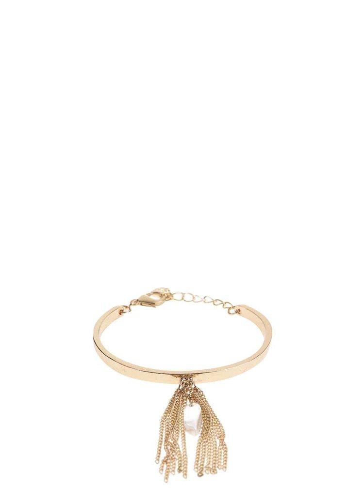 Náramek v zlaté barvě s řetízkovým střapcem Pieces Veva