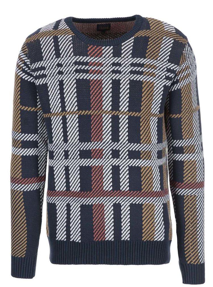 Tmavomodrý sveter s farebným vzorom !Solid Spurrier