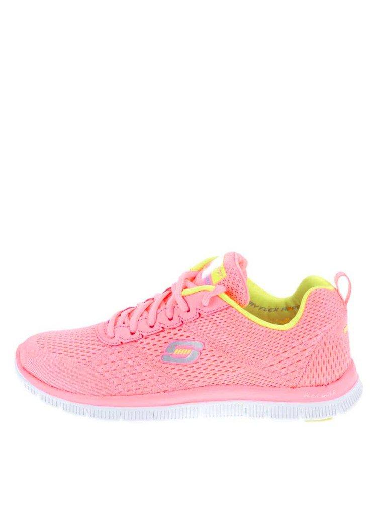 Neonově růžové dámské sportovní tenisky Skechers Obvious Choice ... d49a855b8b